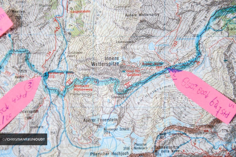 Etappe van de Stubaier Hohenweg op de kaart.