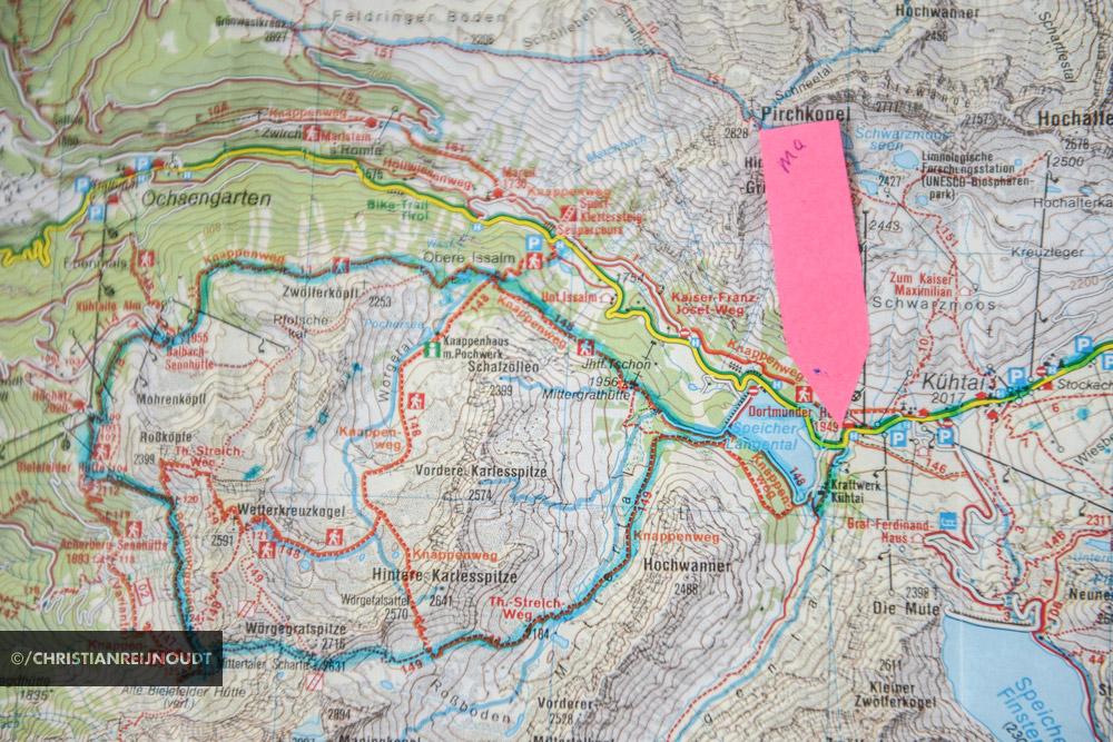 Dagwandeling vanaf de Dortmunder Hütte op de kaart