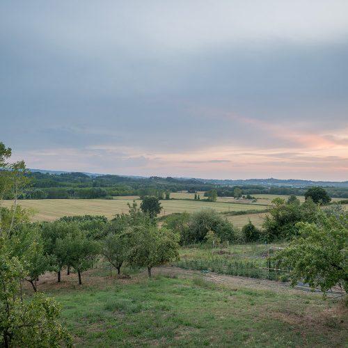 Zonsondergang Vanaf Het Terras Bij 'onze' Agriturismo In Toscane